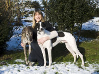 Jenny with 2 greyhounds