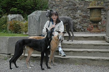 Jenny with Blue, Indi and Bobby at Woodstock Gardens